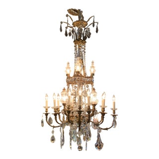 Fine 19th Century French Gilt Bronze and Crystal 20-Light Chandelier For Sale
