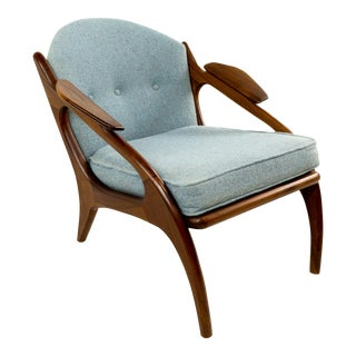 Adrian Pearsall Walnut & Blue Upholstered Lounge Chair