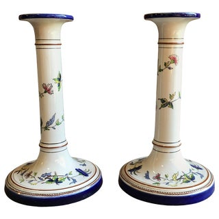 Pair of Porcelain Candlesticks, Rouen France For Sale