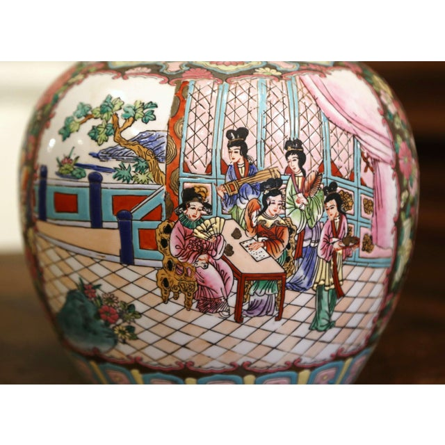 Mid-Century Chinese Famille Rose Porcelain Melon Jars - a Pair For Sale In Dallas - Image 6 of 11
