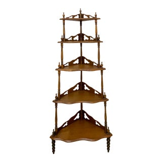 Antique Victorian Mohagony 5 Tier Corner Shelf For Sale
