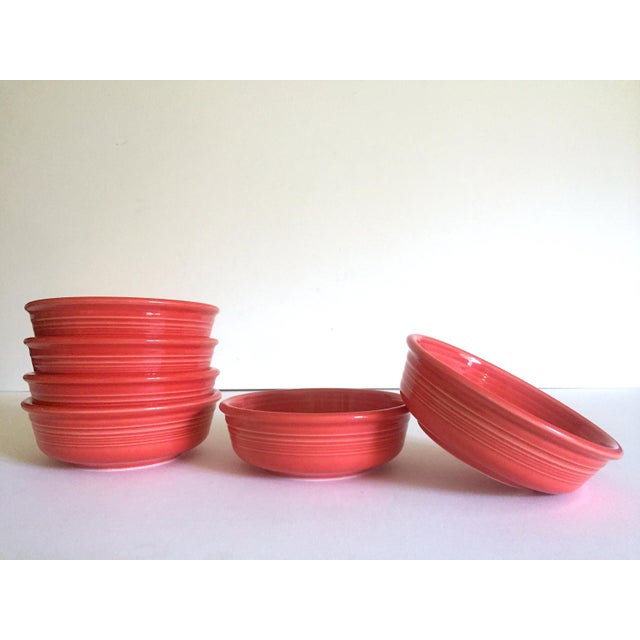 Vintage 1980's Fiesta Ware Homer Laughlin Persimmon Coral Coupe Cereal Soup Bowls - Set of 6 For Sale - Image 10 of 13