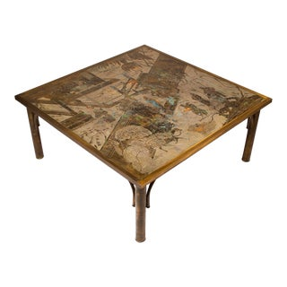 Philip and Kelvin LaVerne Patinated Brass and Pewter 'Chan' Cocktail Table For Sale