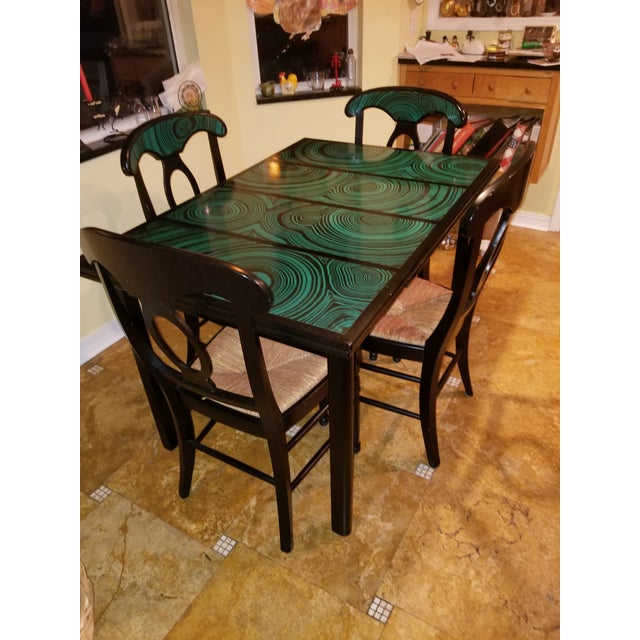 Mid-Century Modern 1970s Mid Century Faux Malachite Dining Set 5 Piece Set 1 Table 4 Chairs 2 Leaves All Matching! For Sale - Image 3 of 13