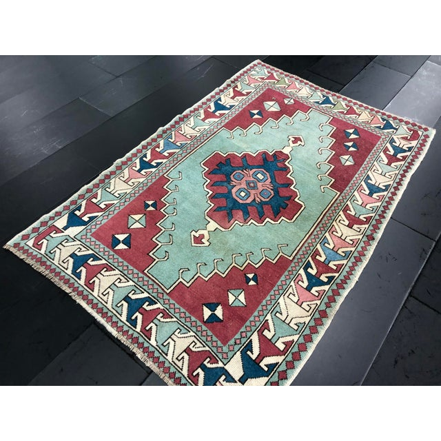 Antique Turkish Anatolian Aztec Decorative Hand Rug - 4′4″ × 6′7″ For Sale In Phoenix - Image 6 of 11