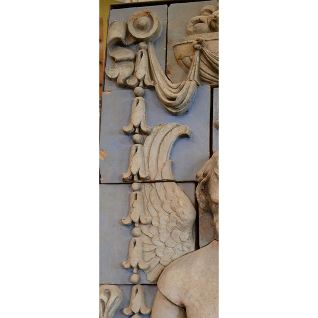 Neoclassical Polychrome Terra Cotta Angel Panel For Sale - Image 9 of 10