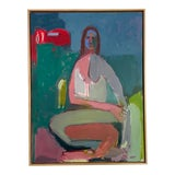 Image of Contemporary Figurative Abstract Female Oil Painting, Framed For Sale