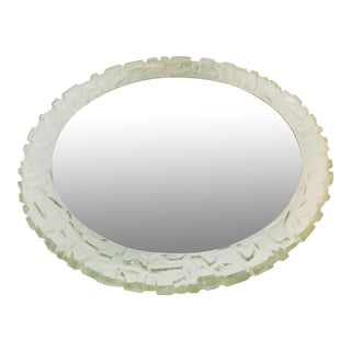 1960s Mid-Century Round Acrylic Glass Illuminated Wall Mirror From Hillebrand, Germany For Sale