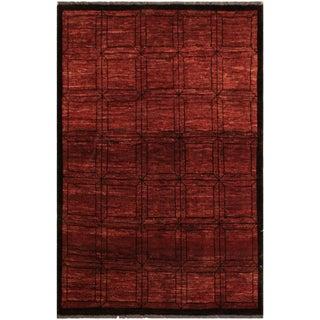 Gabbeh Leisha Red/Black Wool Area Rug -4'0 X 4'10 For Sale