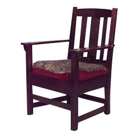 American Mission oak arm chair with triple slat design back and tapestry seat For Sale