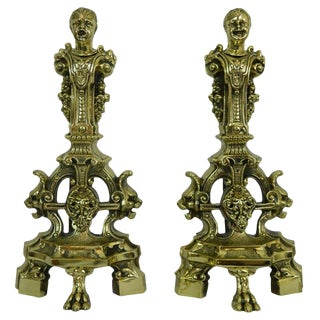Pair of Chenets or Andirons With Cherubs and Lions Motif, 19th Century For Sale