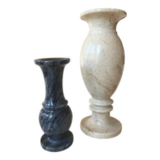 Italian Marble Vases - a Pair For Sale