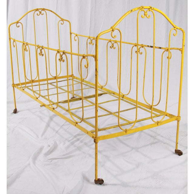 Early 20th Century Vintage French Yellow Daybed For Sale - Image 5 of 8