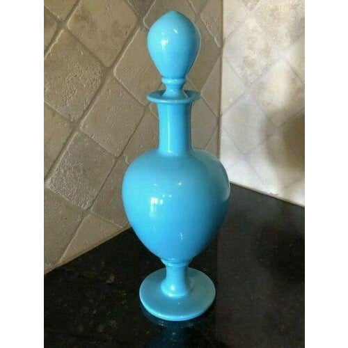 Early 20th Century 19th Century French Blue Opaline Large Decanters W/ Stoppers - a Pair For Sale - Image 5 of 13