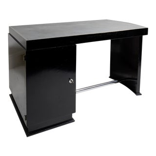 Jacques Adnet Ebonised and Chrome Art Deco Desk For Sale