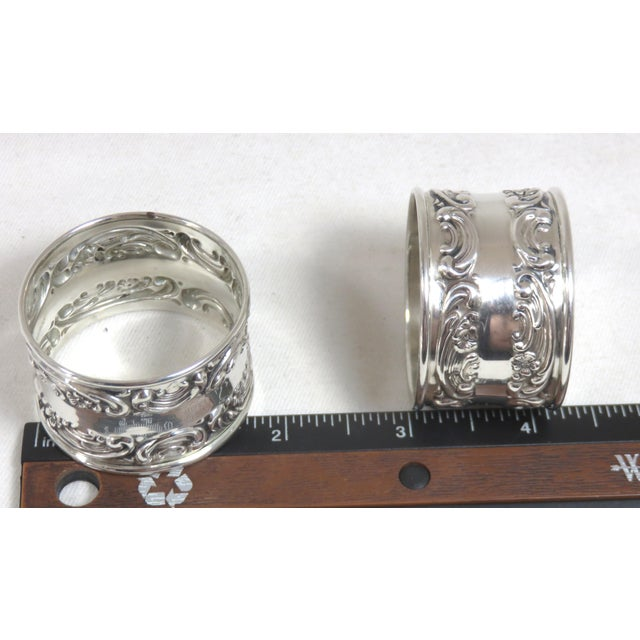 Vintage Victorian Gorham Sterling Silver Napkin Rings - a Pair For Sale - Image 11 of 12