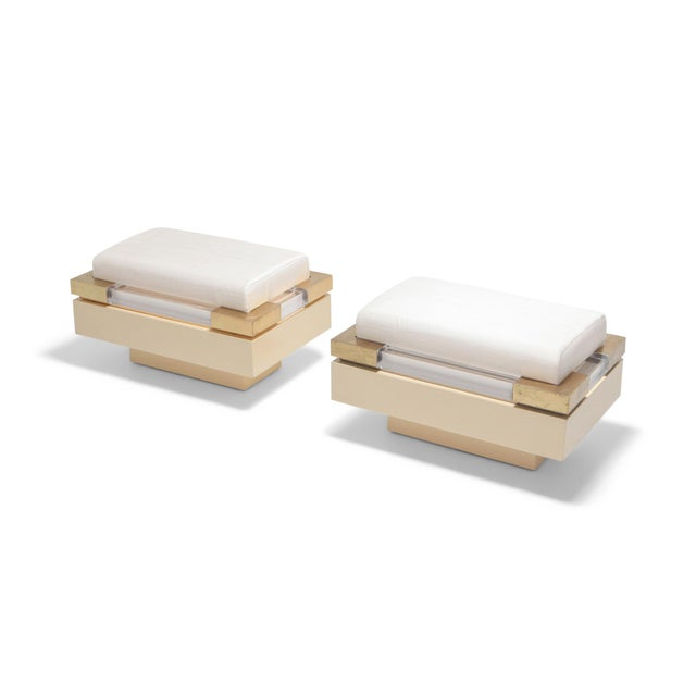 Gold Postmodern Chic Pair of Ottoman in Cream Lacquer, Brass and Lucite For Sale - Image 8 of 8