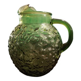 Vintage Mid-Century Modern 1960's Anchor Hocking Milano Green Pressed Glass Pitcher For Sale