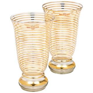 French Art Deco Gilt Crystal Vases For Sale