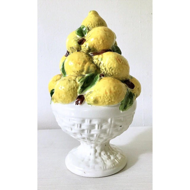 This is a beautiful Majolica lemon topiary. It is mid-century and hand painted in the majolica style in Italy. This is a...