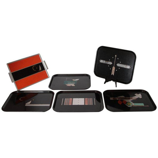 Machine Age Art Deco Micarta Tray Set by George Switzer for Westinghouse For Sale - Image 11 of 11
