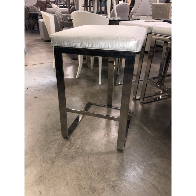 Metal Contemporary Century Furniture Stainless Steel Bar Stools - Set of 4 For Sale - Image 7 of 10