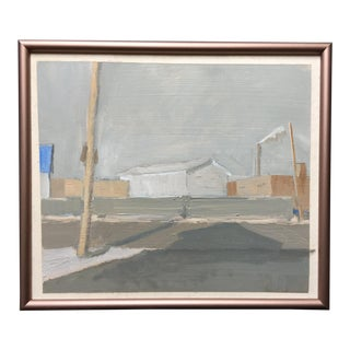 1990s Urban Landscape Oil Painting