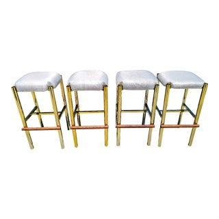 A Set of 4 Vintage Mid Century Modern California Co Brass and Wood Bar Stools For Sale