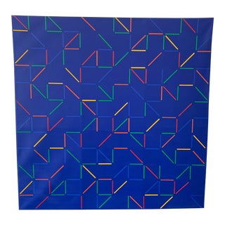 1980s Geometric Acrylic Painting Attributed to Georgia Matsumoto For Sale