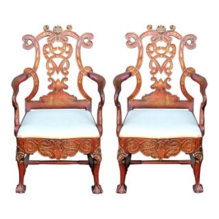 Pair of Red Chinoiserie Regency Style Designer Armchairs by Charles Pollock For Sale