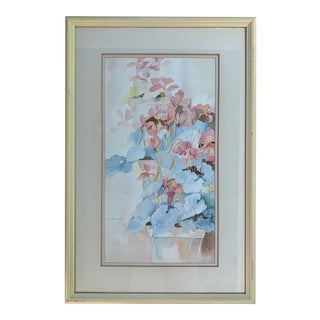Potted Cyclamen Pastel Watercolor Painting by J. Marshall- Framed For Sale