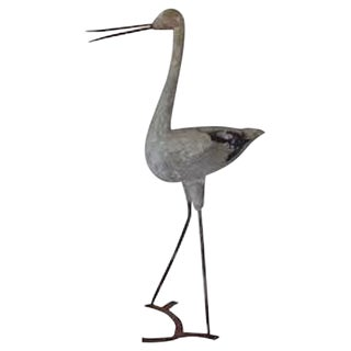 English Cast Stone Heron Garden Ornament For Sale