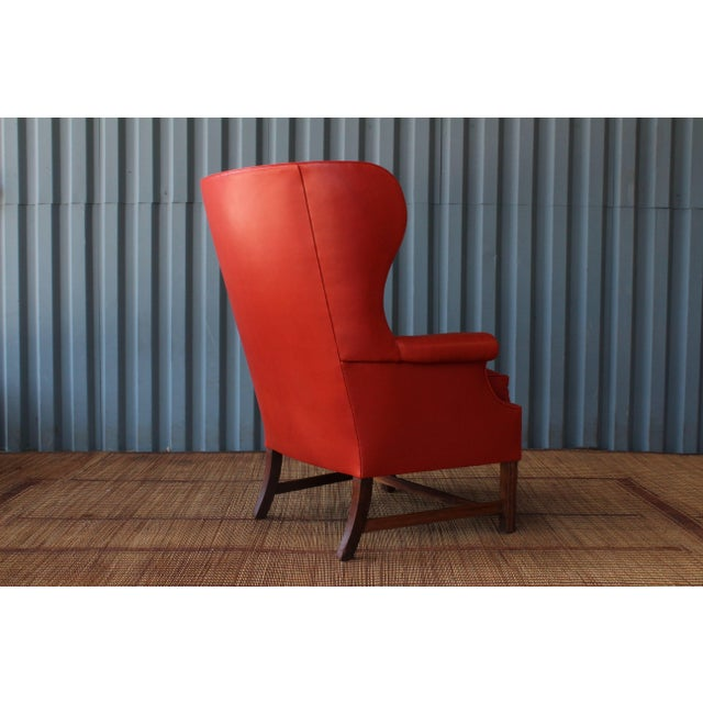 Mid-Century Modern 1940s Orange Leather Wingback Armchair For Sale - Image 3 of 11