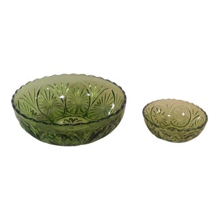 Mid-Century Modern Avocado Green Chip and Dip Set- 2 Pieces