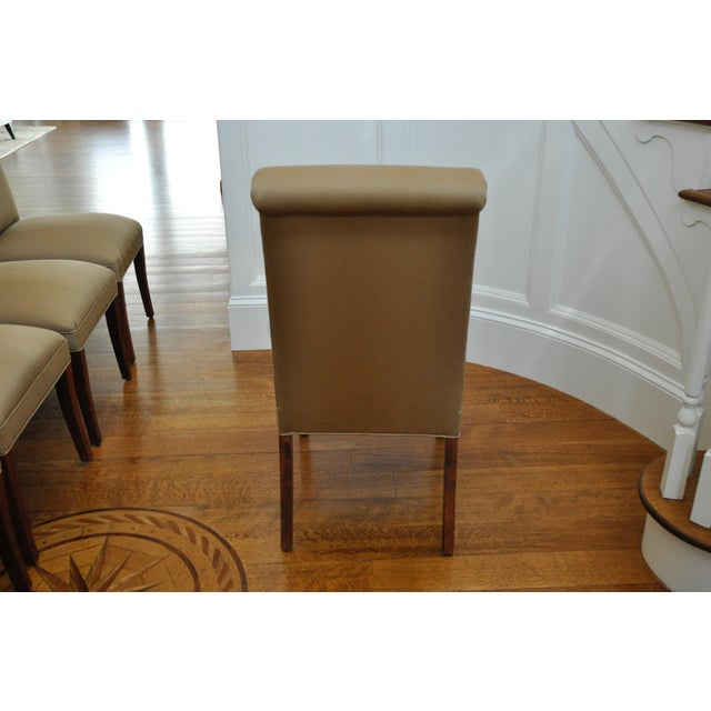 Taupe Silk Scroll Back Dining Chairs - Set of 10 - Image 5 of 10