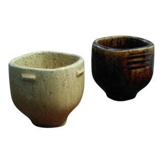 Per Linnemann-Schmidt Danish Miniature Stoneware Bowls - a Pair For Sale