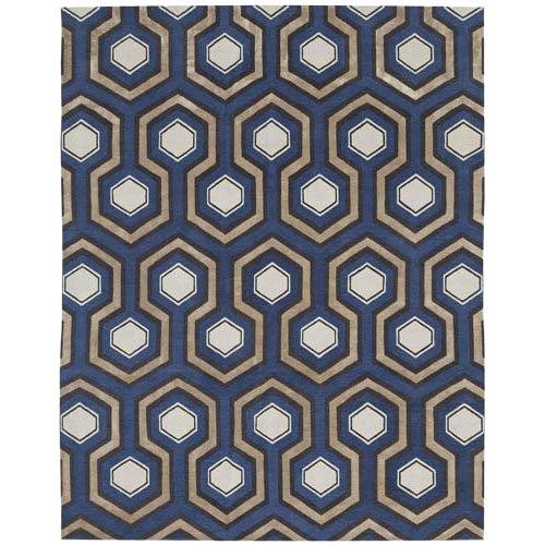 Modern Handmade Wool and Silk Carpet8′ × 10′ For Sale