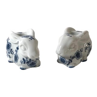 Vintage Flow Blue and White Bunny Candleholders - a Pair