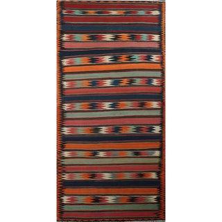 Antique Handwoven Kilim Area Rug- 6'2″ × 15'2″ For Sale