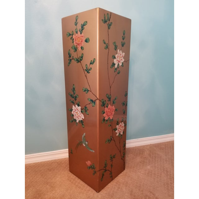Vintage Gold Tone Hand Painted Lacquered Display Pedestal For Sale In Seattle - Image 6 of 6
