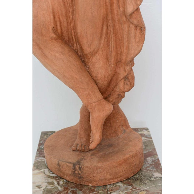 Neoclassical Greco-Roman Terracotta Garden Sculpture, France, 19th Century For Sale - Image 9 of 11