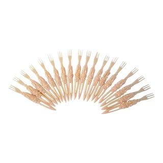 1950s Mid-Century Modern Faux Ivory Plastic Appetizer Forks - Set of 36