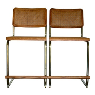 Cesca Marcel Breuer Style Brass & Cane Cantilever Barstools - a Pair