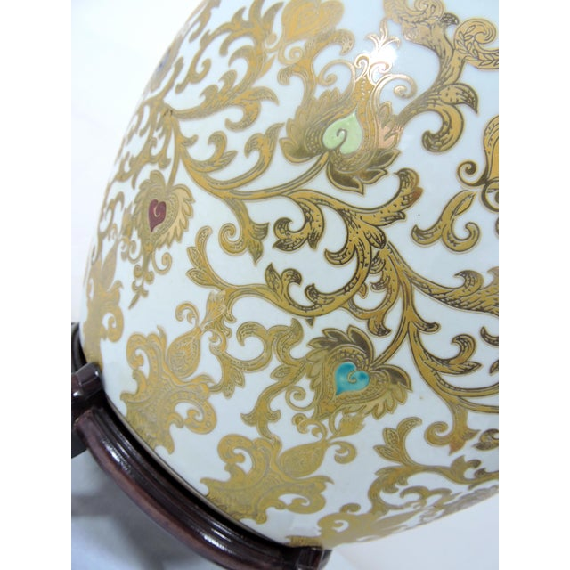 Vintage Porcelain Oriental Hand Painted Gilt Goldfish Bowl - Planter For Sale - Image 10 of 10
