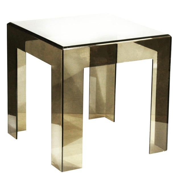Les Prismatiques Final Markdown 1970s Vintage Les Prismatiques Smoke Lucite Side Table For Sale - Image 4 of 4