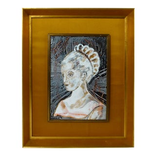 Enamel on Copper Portrait For Sale