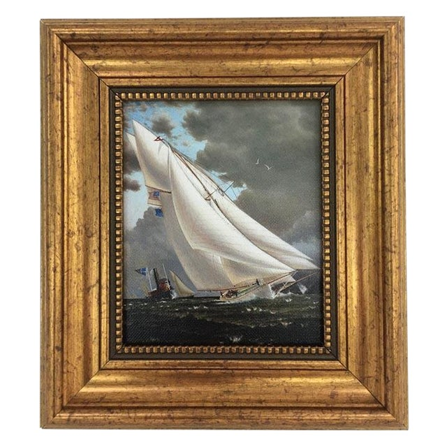 Framed Petite Sailing Ship Painting For Sale - Image 4 of 4