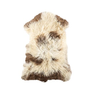 "Long Wool Sheepskin Pelt, Handmade Rug 2'2""x3'4"" For Sale"