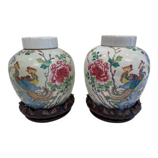 19th Century Vintage Chinese Large Ginger Jars - A Pair For Sale