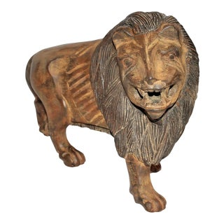 19th Century Hand-Carved and Painted Folky Wooden Lion For Sale